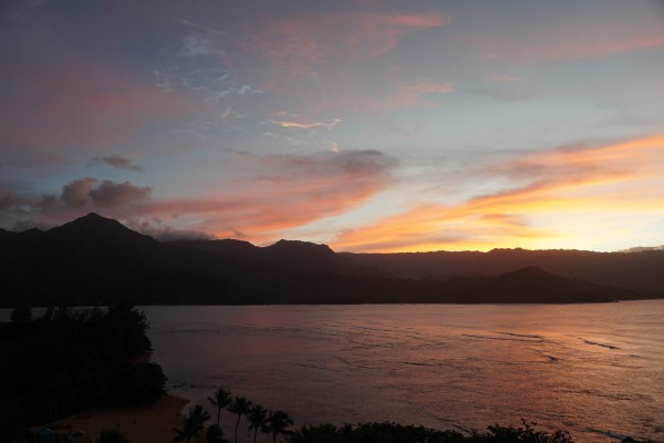 Travel Guide of Princeville, Kauai, Hawaii - Shown here: Sunset at St. Regis