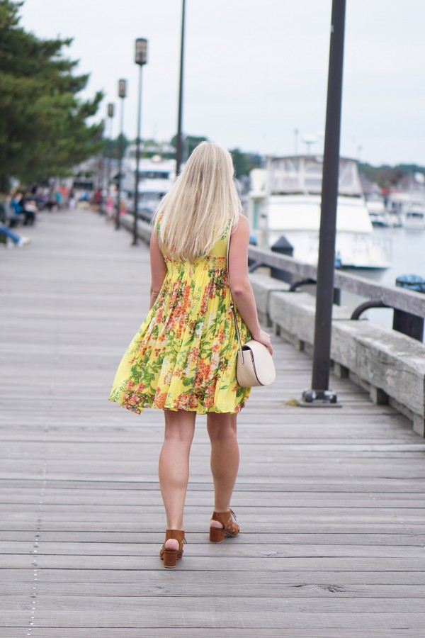 Yellow Floral Dress on DailyKaty.com