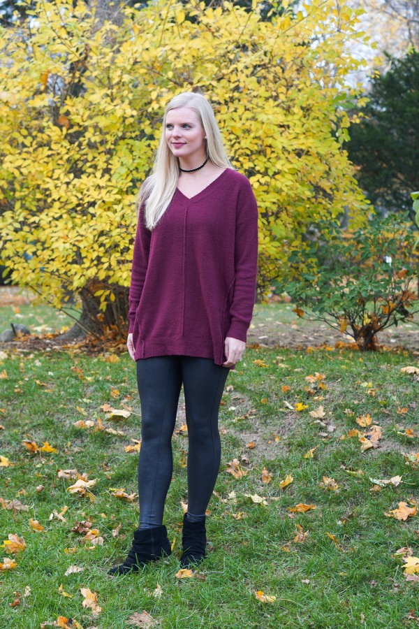 Faux Leather Leggings & Comfy Sweater